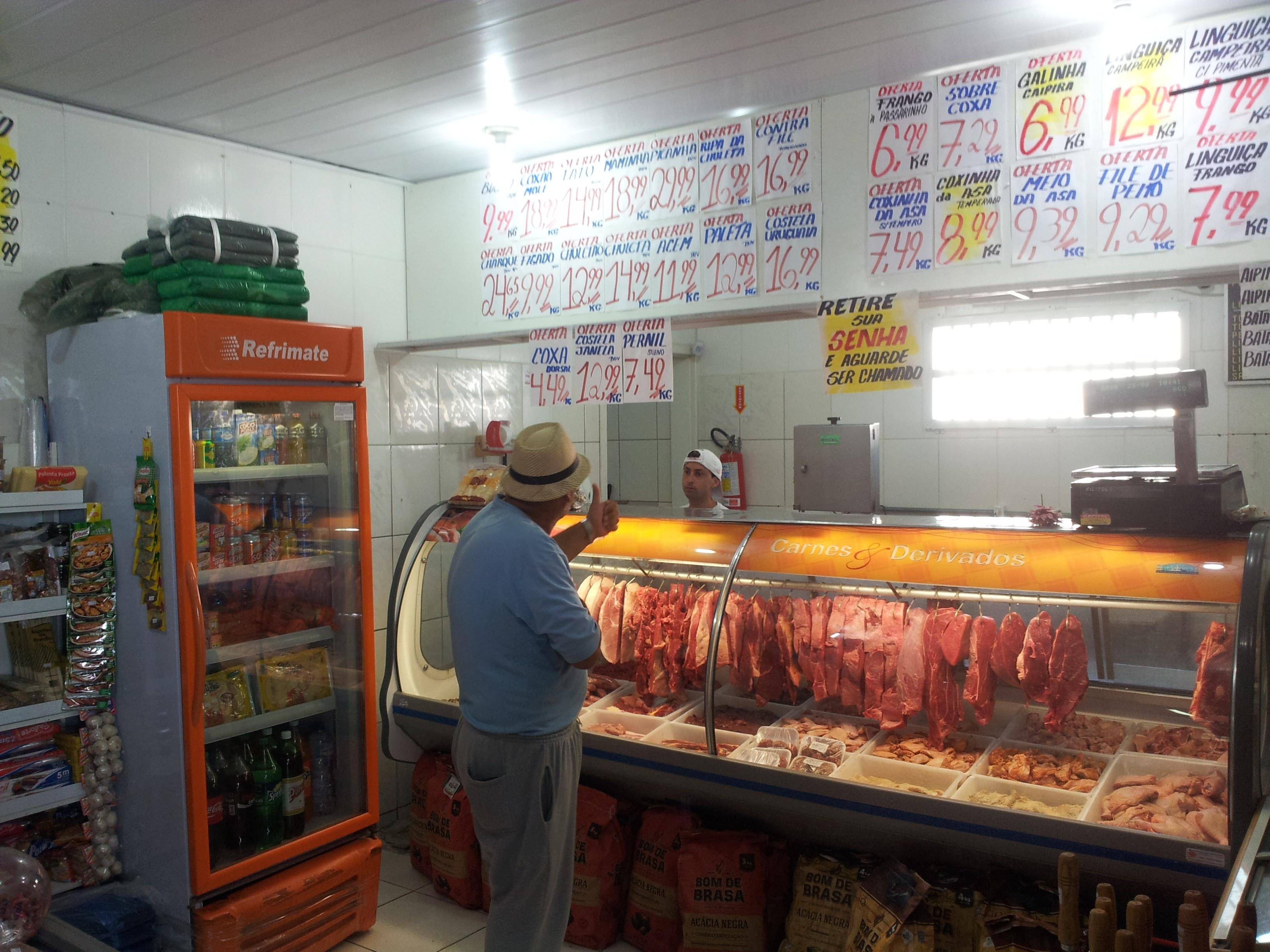 Florianópolis, Playa de los Ingleses, los precios de las carnes. Septiembre 2014